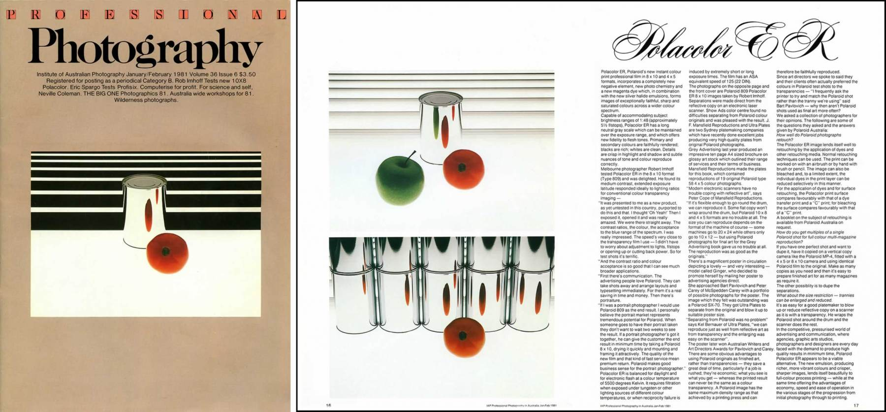 Institute of Australian Photography (IAP) magazine cover & two page POLAROID article. 1981