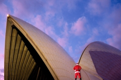 Sydney Opera House, NSW. 1992 - Part of an ongoing series: 'Pissing Santa' Christmas cards.